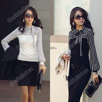 Women shirt puff sleeve - New women Polo Neck Stripes Long Puff Sleeve Cotton Casual Tops Blouses T Shirt