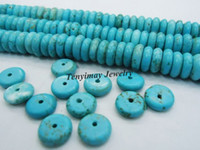 Wholesale Button Beads Oblate Turquoise Beads mm Strands