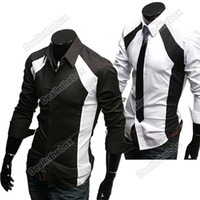 cotton polyester shirts - New Polyester Cotton Mens Casual Luxury Stylish Slim Long Sleeve Shirts Black White