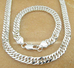 Wholesale 925 silver christmas gift silver set men Bracelets silver chain necklace MM Men Necklace bracelet SET Jewelry set mens jewelry