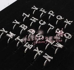 100pcs Fresh Rhinestone Single Letter Alphabet Ring