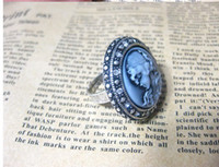 Unisex antique sapphire rings - New Crystal Vintage Style CAMEO Ring Crystal rings antique blue cameo rings