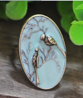 Wholesale new design vintage antique cameo rings lovebirds oil drip cameo rings cameo jewelry