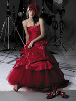 Wholesale 2012 luxury Red Cymbeline Strapless Floor Length Court Train Wedding Dress Ball Gown