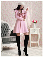 Wholesale New Women Girls Ladies Fashion Woolen Long Coats Lovely Falbala Autumn Winter Overcoat Topcoat