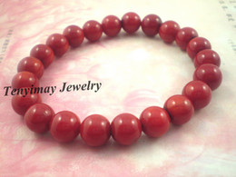 Coral Bracelets Wholesale 12pcs 8mm Natural Red Coral Bead Bracelets Free Shipping