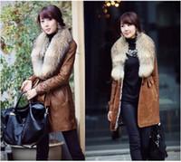 Winter Fashion Coats W6070 Fox Fur Lapel Filled Cotton PU Le...