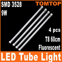 T8 9w SMD 3528 4pcs T8 60cm 9W 144 SMD 3528 Fluorescent 1008 LM 85-265V LED Tube White Light Clear cover lamp H4797