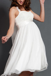 Wholesale In stock short Maternity wedding dress halter empire chiffon bridal gowns prom evening dresses AI04