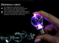 Wholesale 10pcs Rainbow Color Mini LED Flashlight Electric Bulb Keychain Fashion Key Ring Jewels Pendant
