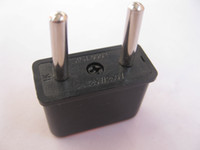 Wholesale US to EU AC Power Plug Converter Travel Adapter USA to European Plastic Black
