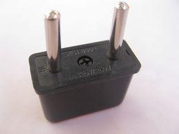Wholesale US to EU AC Power Plug Converter Travel Adapter USA to European Plastic Black