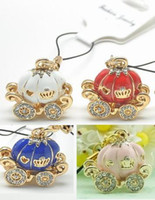 Wholesale 20pcs Assorted Crystal Mobile Phone Strap Fashion Charms Pumpkin Carriage CellPhone MP4 Chain String