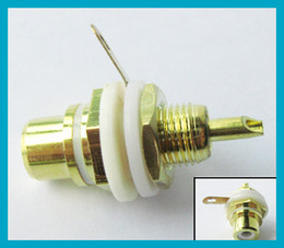 Wholesale RCA connector RCA panel mount Jack Bulkhead white cycle with nut and solder cup