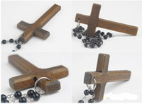 beaded wooden cross - Promotion Fashion Wood Cross Necklace Long black beads Sweater Chain Necklace Wooden Made Cross Pendant