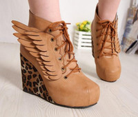 Wholesale Best Women s Wing Platform Round Toe Leopard Wedge Heel Lace Up Ankle Boots Shoes Size gvgfcw