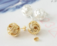 Wholesale 24pcs cute alloy braid beads shaped Earring gold and silver Jewelry stud Earrings H614