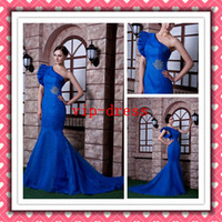 New Modern Sexy Mermaid One- shoulder Blue Hot Real Formal Ev...