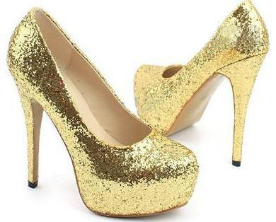 Ladies Womens Sparkly Gold Shimmer Glitter - Sequined Mesh - Stiletto Court Shoe - Gold