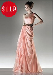 Wholesale Custom In stock Hot One shoulder Applique Chiffon Prom Dresses Formal Evening Party Dress US2 US16