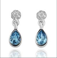 Wholesale 2012 new K RGP platinum blue gemstone earrings fashion high end jewelry pair