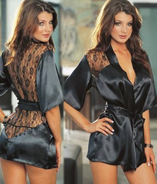 Wholesale Charmeuse Robe Lace With G String Sexy Lingerie Black Sleepwear