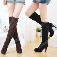 Wholesale Women s Shoes Over the Knee Thigh Stretchy High Heels Boot Four Size Black Brown Sexy