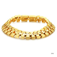 Wholesale NEW ARRIVAL MM WIDE K YELLOW GOLD BRACELET DULL POLISH BOX CHAIN MENS BRACELET KS742