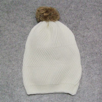 Wholesale Women s knitted hats white hats keep warm cap twill Cotton hat bobbles