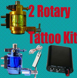 Wholesale Super Rotary Alloy Machines Blue Gold Tattoo Gun Kits MIN Power Supply System Tattoo Supply Pro