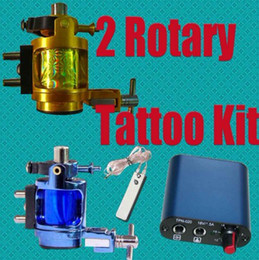 Wholesale Super Tattoos Rotary Alloy Machines Tattoo Gun Kits MIN Power Supply amp Footswitch Clip Cord Pro