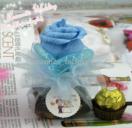 30 pcs Romantic Light Blue Silk Rose Sugar Bags Candy Wedding Favors Boxes Gift Bag Party Supplies