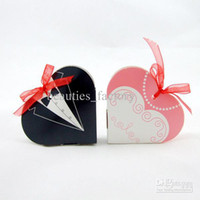 Wedding   100 Pcs Fashion wedding Heart Candy Boxes Groom and bride gift box