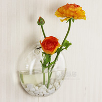 Wholesale 2012 new style hanging glass flower vase round clear high quality glass wedding decration