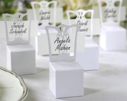 Wedding souvenirs box Miniature Chair Place Card Holder and Favor Box name card including For wedding gifts 100Pcs lot cheapest gift box
