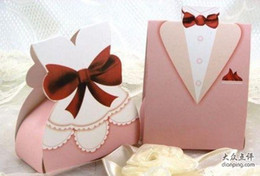 Wedding party favor boxes Pink Dressed wedding boxes 200PCS LOT 100pairs Quality items before shipp