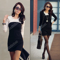 ladies white skirt - Lady Sexy Lace Silk joining together Skirt Clubbing Western Mini Dress White Black