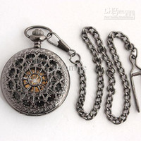 Wholesale Mens Skeleton Carved Cover Black Mechanical Pocket Watch Roman Index N