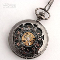 Wholesale Men s Black tone Skeleton Cover and Dial Mechanical Pocket Watch with Chain N