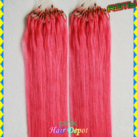 Wholesale 100s quot pink Micro Ring Loop Hair Extensions g s Remy Silky Soft Straight Human Hair