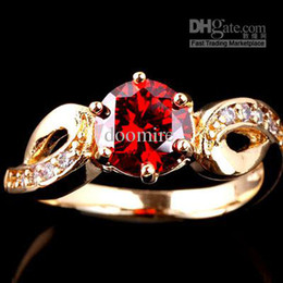 Gold Plated Round Cut Garnet Red Cubic Zirconia Women Cocktail Party Rings Sizes & Colors Selectable R018