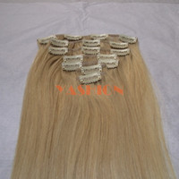 Wholesale 28inch Blonde Clip In Hair Extension Chinese Human Hair set g set In Stock Cheap Price