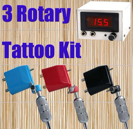 Wholesale Super Tattoo Gun Kits Rotary Tattoo Motor Machines amp LED Power Supply With Plug Tattoos Tools