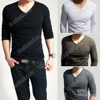 Men lycra t shirt - new style Men s Comfort Lycra Deep V Neck Long Sleeves T Shirt Tunic Button Tops Tees slim T shirt