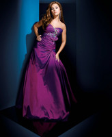 Reference Images Strapless Taffeta Grape Le Gala Prom Dress 110519 on the Cover of Teen Prom Taffeta Strapless Beaded Floor-Length