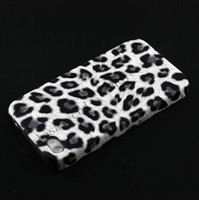 No pu leather For Apple iPhone 250pcs Snow Leopard printed Design pu Leather Coated Hard case Back covers skin for iphone 4 4S