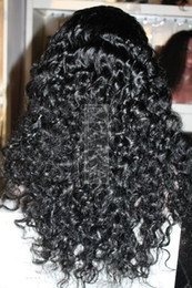 Wholesale Top Quality indain human hair inch deep wave jet black full lace wig