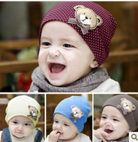 Spring / Autumn bears knit hats - 2016 New Spring Style Cotton Knit Baby Cap Baby Hat with Lovely Bear colors