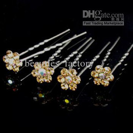 20 Pcs Gold Crystal RHINESTONE Wedding Bridal Prom Hairpins U shaped Hair Pins Pin