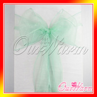 Wholesale 50 Mint Green Aqua Organza Crystal Chair Sash Table Sample Fabric Roll wedding for Bow Gift Party